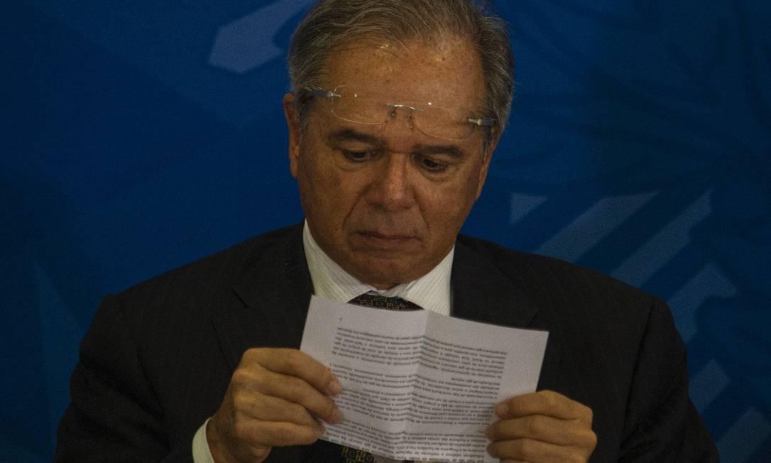 O ministro da economia Paulo Guedes Foto: Daniel Marenco / Agência O Globo