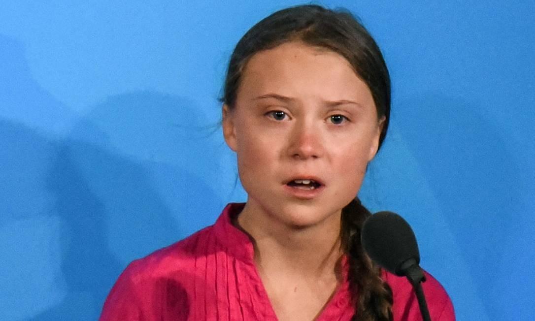 A ativista sueca de 16 anos Greta Thunberg discursa na Cúpula do Clima da Organização das Nações Unidas (ONU) Foto: STEPHANIE KEITH / AFP