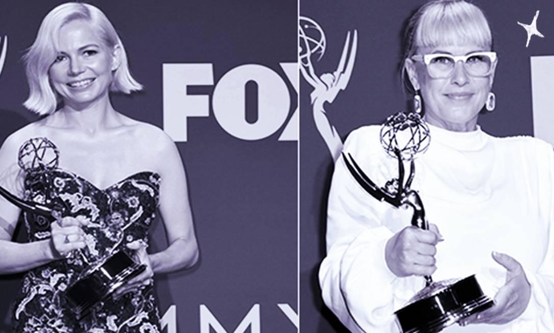 As atrizes Michelle Williams e Rosana Arquette, ganhadoras do Emmy que usaram seus discursos para falar sobre igualdade de salários e direitos das pessoas trans Foto: AFP