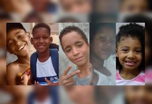 Kauê Ribeiro dos Santos, de 12 anos, Kauã Rozário, de 11 anos, Kauan Peixoto, de 12 anos, Jenifer Cilene Gomes, de 11 anos, e Ágatha Félix, de 8 anos: vítimas da violência do Rio em 2019 Foto: Reprodução
