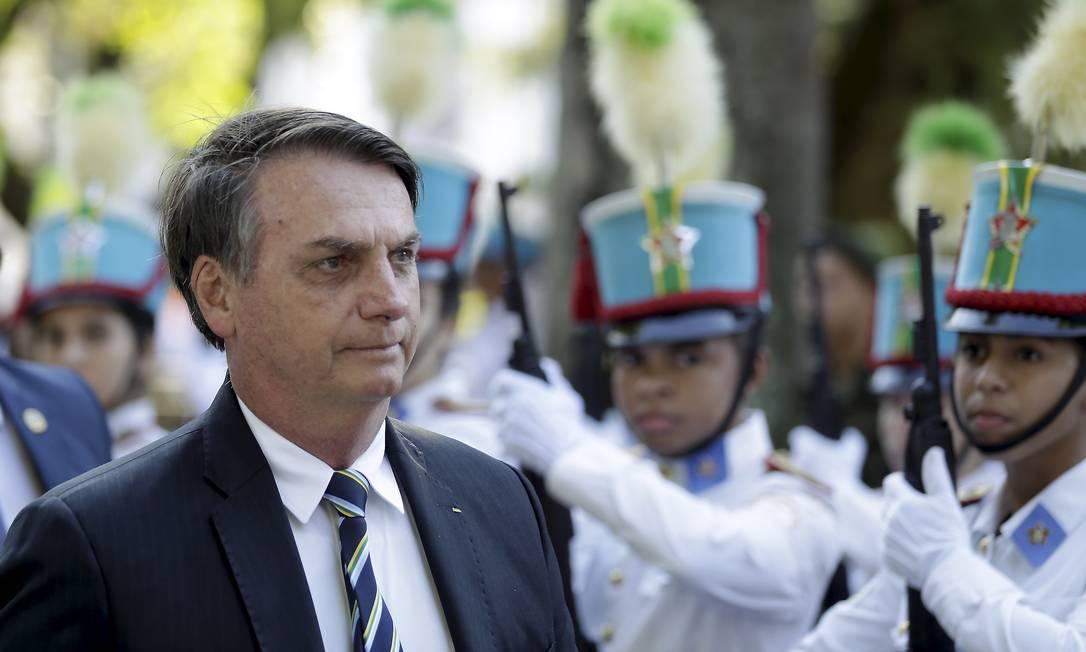 O presidente Jair Bolsonaro participa da comemoração pelos 130 anos do Colégio Militar, na Tijuca Foto: Gabriel de Paiva / Agência O Globo