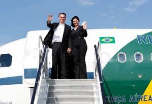 O presidente Bolsonaro desembarca com a primeira-dama Michelle em Nova York Foto: Allan Santos/ Presidência da Re / Agência O Globo