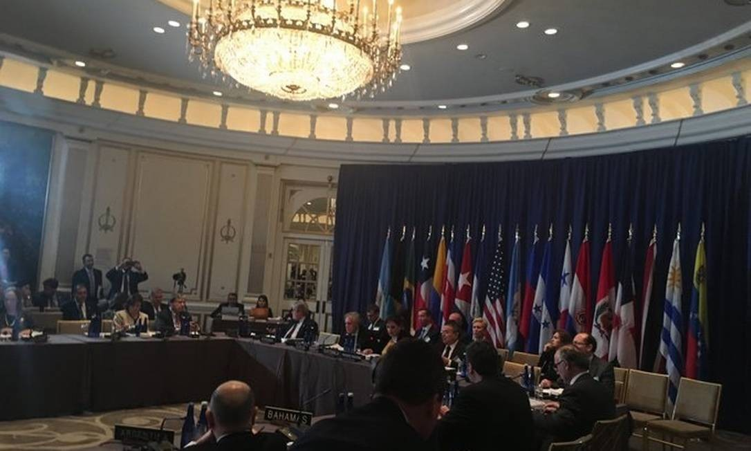 Chanceleres membros do Tratado Interamericano de Assistência Recíproca (Tiar) em sessão na ONU Foto: Reprodução