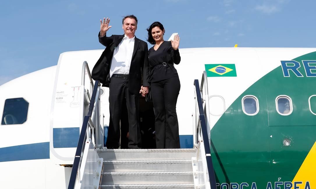 O presidente Jair Bolsonaro e a esposa Michelle Bolsonaro na chegada a Nova York, EUA Foto: Allan Santos/ Presidência da Re / Agência O Globo