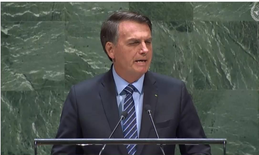 Bolsonaro discursa na ONU Foto: Reprodução da TV