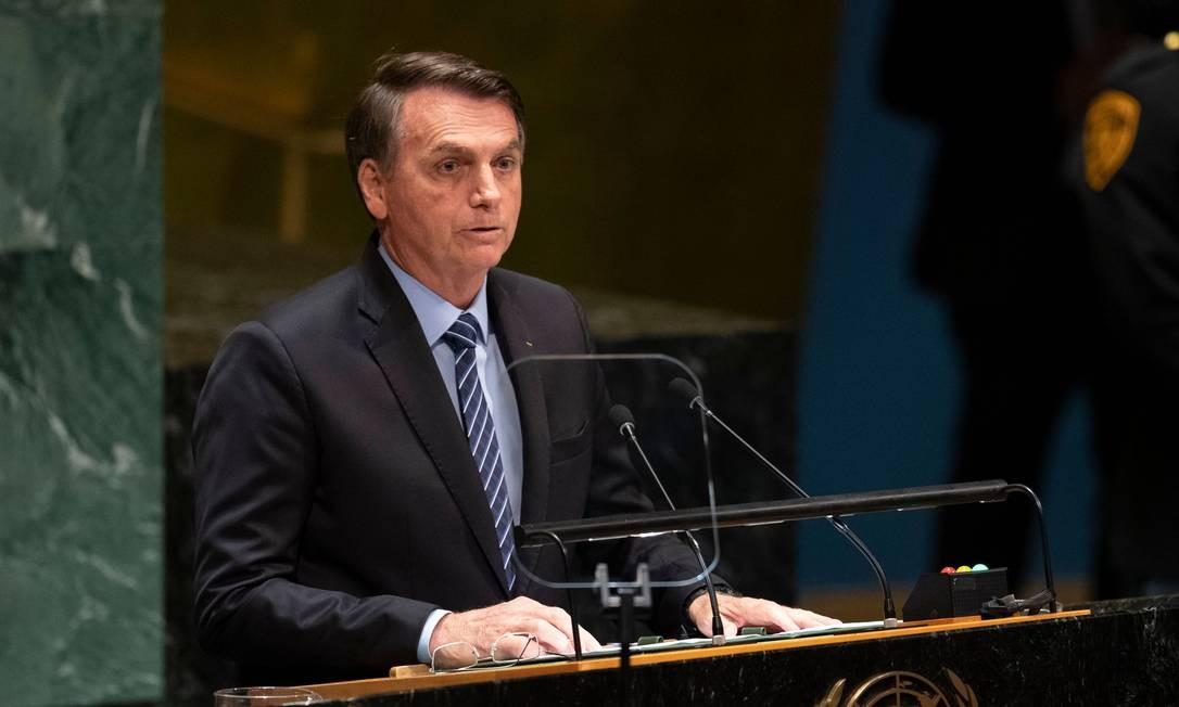 Presidente Jair Bolsonaro abriu debates da Assembleia Geral das Nações Unidas, em Nova York, EUA Foto: DON EMMERT / AFP