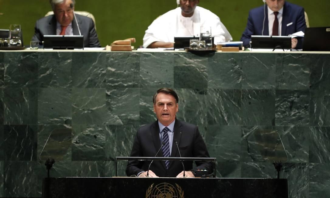 Jair Bolsonaro, presidente do Brasil, na 74ª Assembleia Geral das Nações Unidas, em Nova York Foto: Lucas Jackson / Reuters