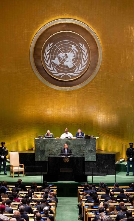 Desde 1955 o representante do Brasil é sempre o primeiro a discursar na sessão da cúpula, que acontece todo ano no mês de setembro, em Nova York Foto: JOHANNES EISELE / AFP
