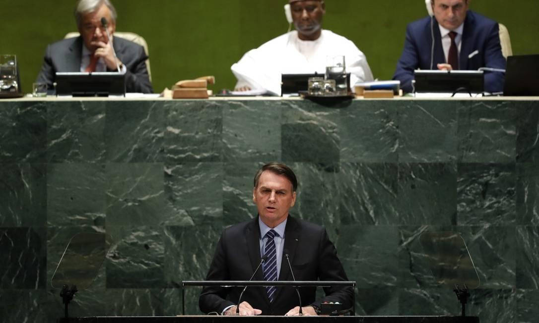 Bolsonaro discursa na 74ª sessão da Assembleia Geral da ONU Foto: LUCAS JACKSON / REUTERS