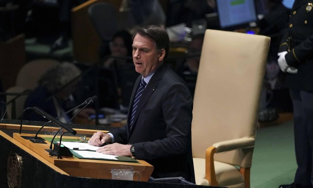 O presidente do Brasil, Jair Bolsonaro, na 74ª Assembleia Geral da Organização das Nações Unidas (ONU) Foto: TIMOTHY A. CLARY / AFP