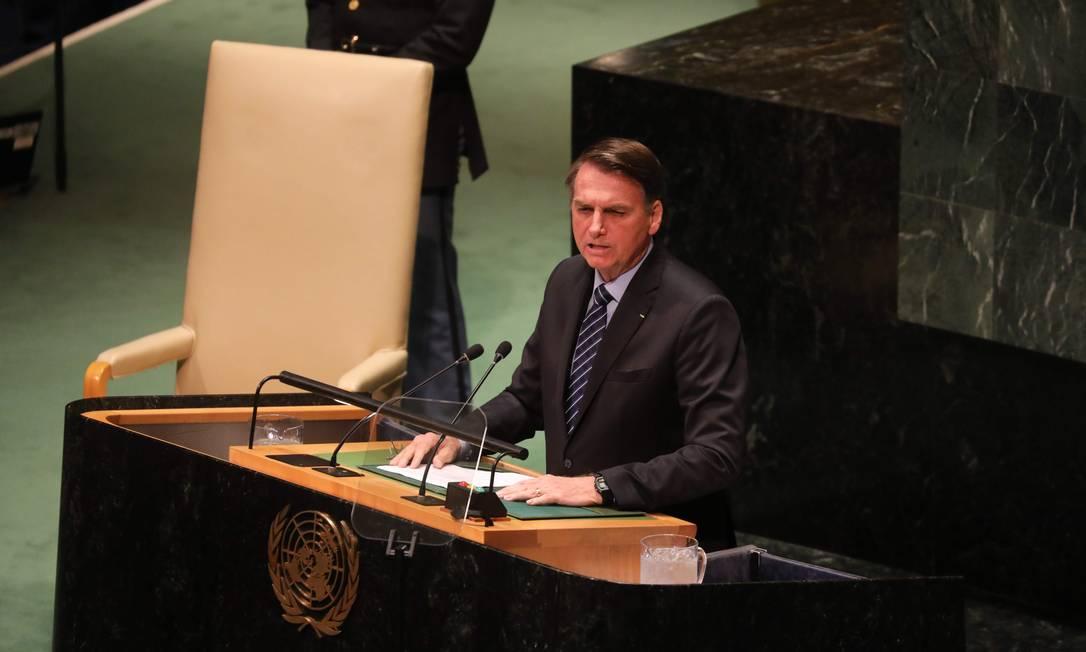 Jair Bolsonaro discursa na Assembleia Geral da ONU: para Heleno, o presidente foi 'enérgico, educado, muito cordial' abordando pontos 'que precisavam ser esclarecidos' Foto: LUDOVIC MARIN/AFP