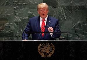 Presidente Donald Trump fala durante sessão da Assembleia Geral da ONU Foto: JOHANNES EISELE / AFP
