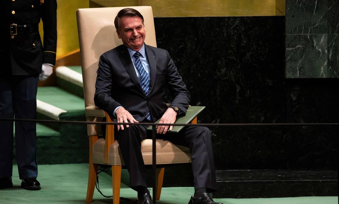 O presidente Jair Bolsonaro espera para fazer discurso de abertura na ONU Foto: JOHANNES EISELE / AFP