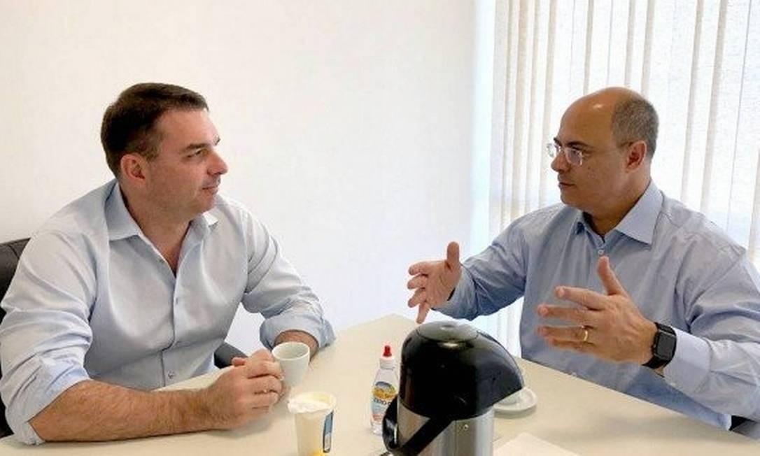 Flávio Bolsonaro e Wilson Witzel: ex-aliados cada vez mais distantes Foto: Divulgação
