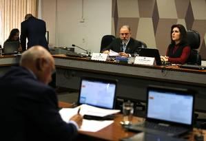 O subprocurador-geral da República Augusto Aras participa de sabatina na CCJ do Senado Foto: Jorge William / O Globo