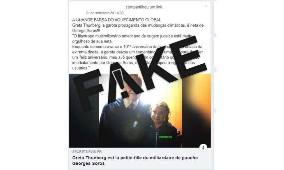 É #FAKE que ativista Greta Thunberg é neta de George Soros Foto: Reprodução