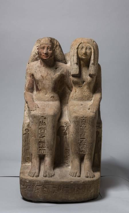 Estátua dupla de Nebnetjeru. Talvez de Tebas. Foto: Divulgação/Museo Egizio