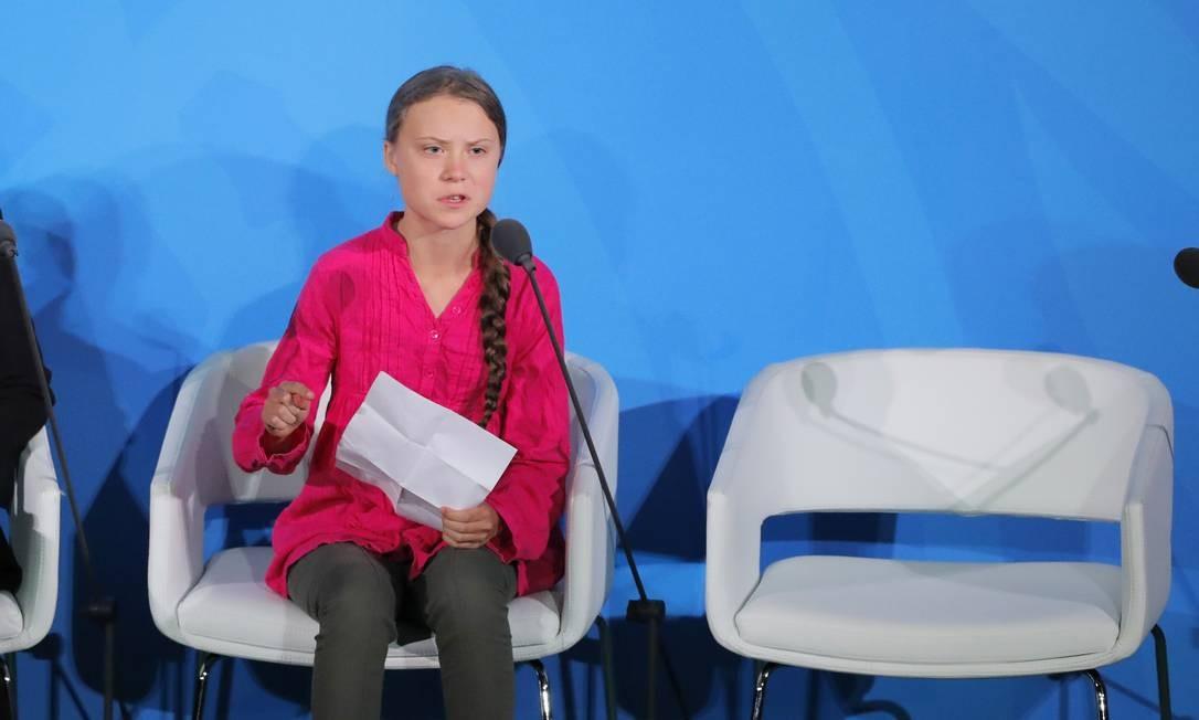 Greta Thunberg fala na Cúpula do Clima da ONU Foto: LUCAS JACKSON / REUTERS