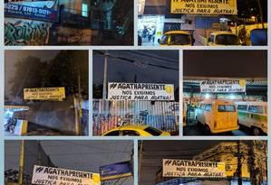 As faixas colocadas no acesso ao Alemão Foto: Helcimar Lopes / Facebook
