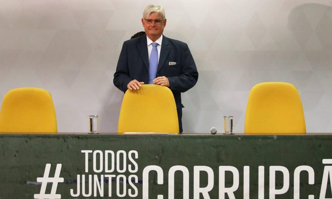 O ex-procurador Rodrigo Janot no lançamento da campanha #TodosJuntosContraCorrupção, no Conselho Nacional do Ministério Público (CNMP) Foto: Ailton de Freitas / Agência O Globo - 12/09/2017