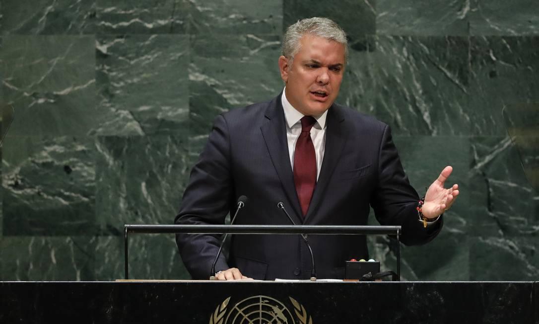 O presidente colombiano, Iván Duque, durante discurso na Assembleia Geral da ONU: denúncias sobre a penetração do ELN na Venezuela Foto: LUCAS JACKSON / REUTERS