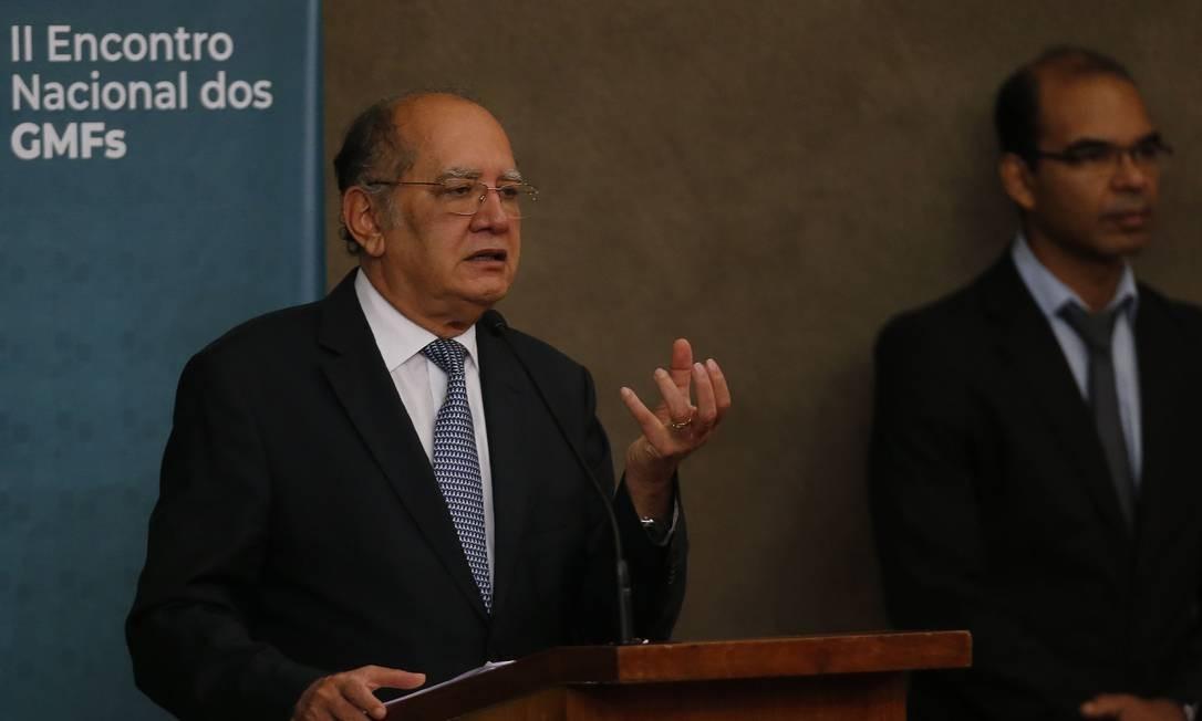 O ministro Gilmar Mendes (STF) comentou a revelação de Janot após Encontro nacional das Escolas Judiciárias Eleitorais, no Tribunal Superior Eleitora (TSE) Foto: Jorge William / O Globo