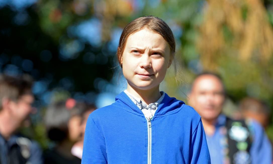 A ativista adolescente Greta Thunberg antes de participar de protesto em Montreal, no Canadá Foto: ANDREJ IVANOV / REUTERS