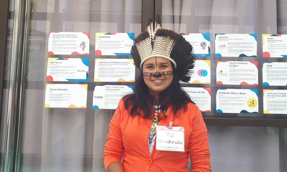 A indígena Val Munduruku durante o Diálogos Mulheres em Movimento, no Rio de Janeiro Foto: Arquivo pessoal
