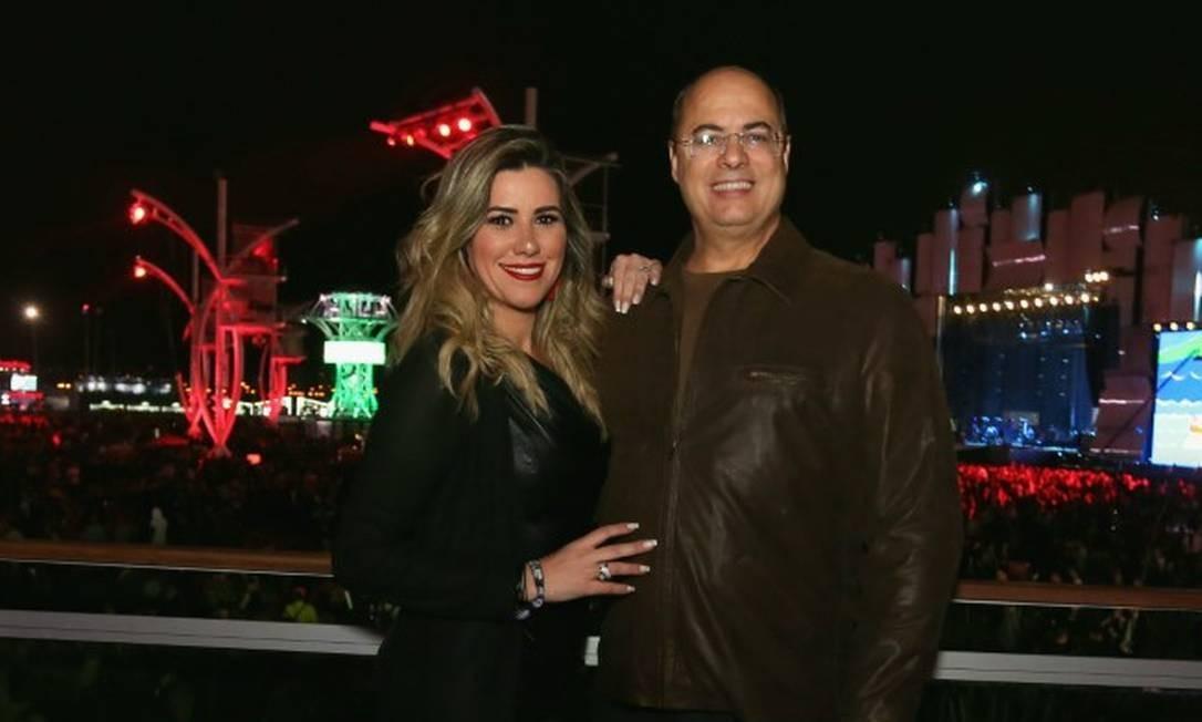 O governador Wilson Witzel com sua esposa, Helena, no Rock in Rio 2019 Foto: Divulgação