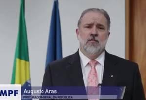 Novo procurador-geral, Augusto Aras envia, em vídeo, mensagem à equipe Foto: Reprodução Internet