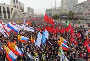 Público tomou a Avenida Sakharov, perto do centro de Moscou Foto: TATYANA MAKEYEVA / REUTERS