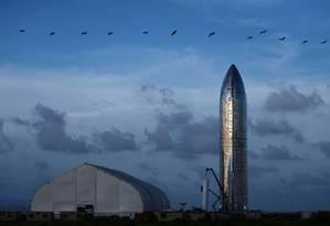 Protótipo da aeronave Starship, da empresa SpaceX Foto: Callaghan O'Hare / Reuters