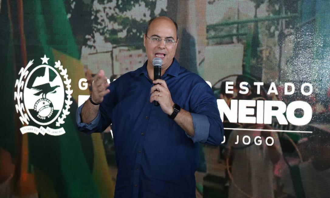 Governador Wilson Witzel em coletiva de imprensa na Cidade do Rock Foto: Pedro Teixeira / O Globo