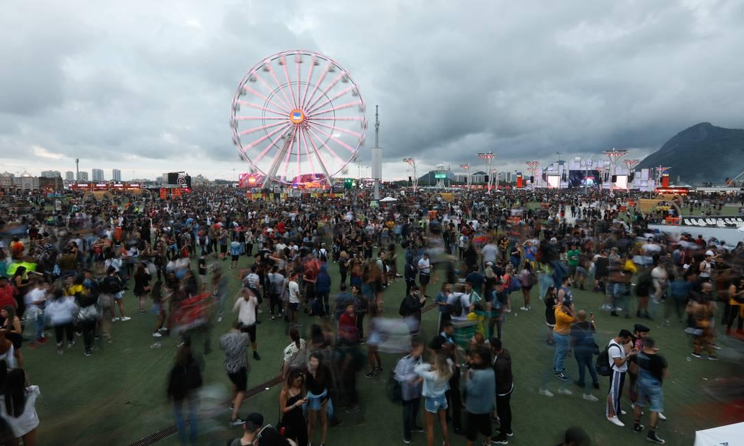 Na última sexta-feira, houve 45 registros de ocorrência na Cidade do Rock, e 204 no sábado, sendo quase a totalidade de furtos Foto: Brenno Carvalho / Agência O Globo