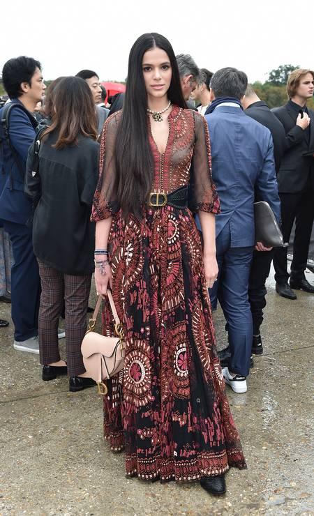 De cabelos longos, Bruna foi destaque no desfile da Dior Foto: Jacopo Raule / Getty Images