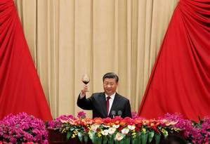 Presidente Xi Jiping durante recepção comemorativa do aniversário de 70 anos da República Popular da China Foto: THOMAS PETER / REUTERS