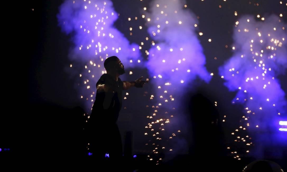 O rapper Drake em sua apresentação no Palco Mundo, na primeira noite do Rock in Rio Foto: Foto de leitor /