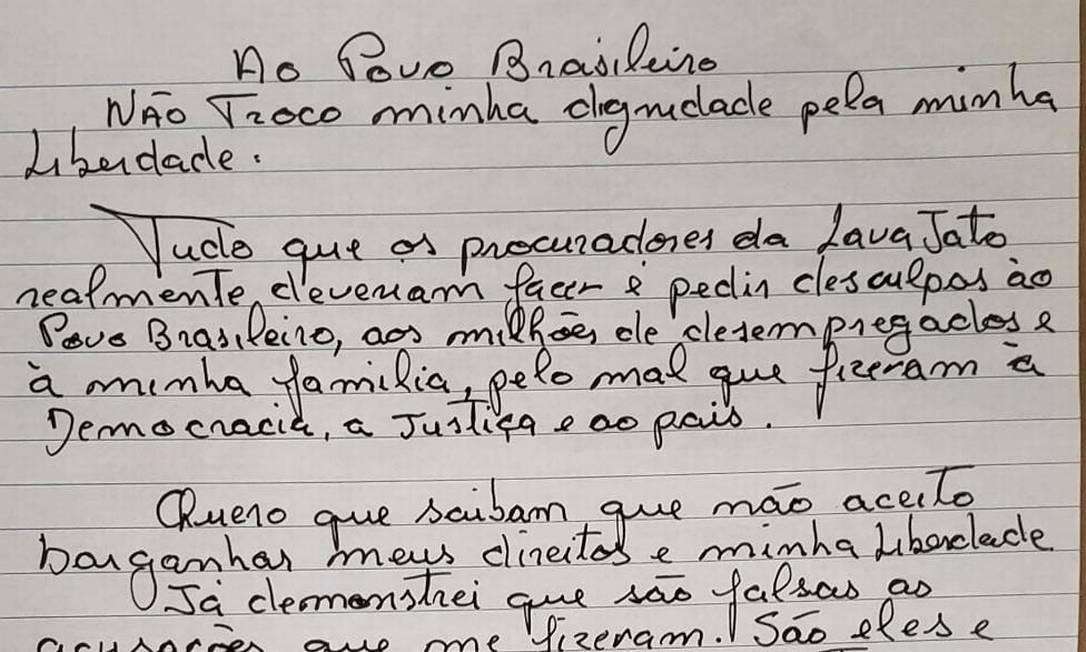 A carta do ex-presidente Lula Foto: Reprodução