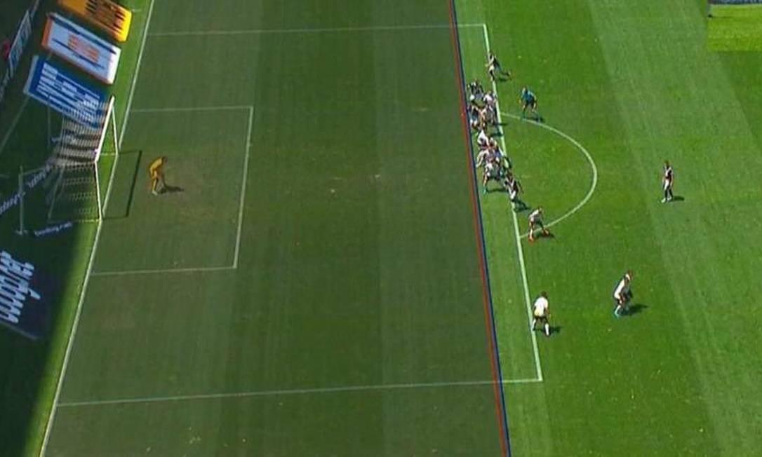Imagem usada para anular gol do Vasco contra o Corinthians Foto: Reprodução