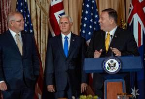 Premier australianno Scott Morrisson (esq.) durante visita aos EUA na semana passada. Ele se encontrou com o secretário de Justiça, William Barr, responsável pela investigação sobre o