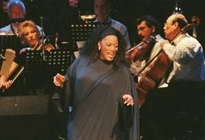 A soprano Jessye Norman, em julho de 2000, em apresentação no Beiteddine Festival, no Líbano Foto: SOUHAILA SAHMARANI / AFP