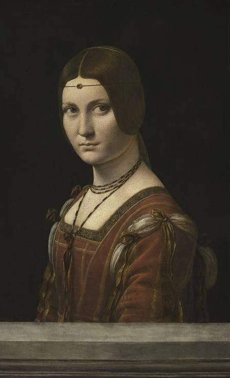 """Quadro """"La Belle Ferronière"""" ou """"Retrato de uma dama da corte de Milão"""", uma das obras clássicas de Leonardo da Vinci expostas no Museu do Louvre, em Paris Foto: Michel Urtado / RMN-GP / Divulgação"""