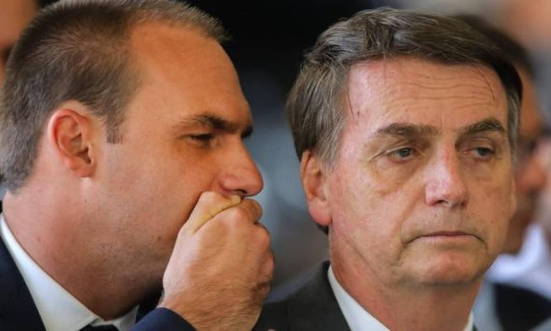"""Eduardo é o terceiro filho de Jair Bolsonaro, que ele chama de """"zero três"""" Foto: Getty Images"""