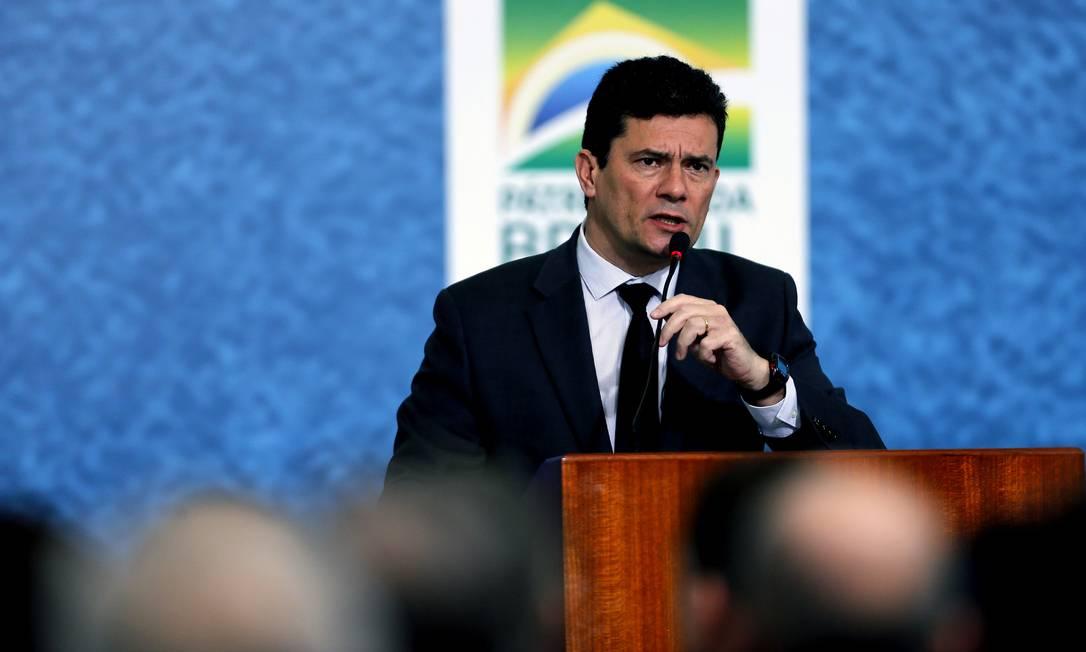 Ministro Sérgio Moro discursa em solenidade de lançamento da Campanha do Projeto Anticrime Foto: Jorge William / Agência O Globo