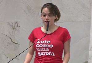 A deputada Isa Penna (PSOL) no plenário da Assembleia Legislativa de São Paulo Foto: Rede Alesp/ Reprodução