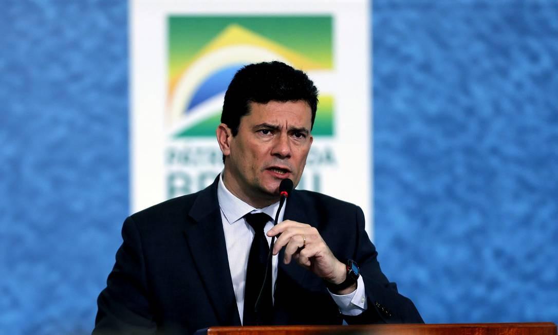 Ministro Sérgio Moro em discurso na solenidade de lançamento da Campanha do Projeto Anticrime, que contou com presença do presidente Bolsonaro Foto: Jorge William / Agência O Globo
