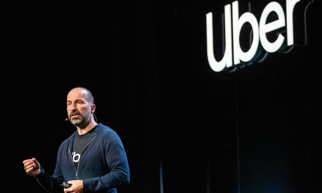 O diretor executivo do Uber, Dara Khosrowshahi Foto: PHILIP PACHECO / AFP