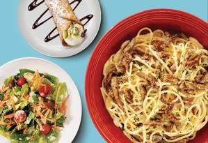 No Abbraccio, a entrada, que pode ser uma salada, acompanha o espaguete de filé mignon e os minicanoli de sobremesa no combo que custa R$ 49 no restaurante do Espaço Gourmet do Plaza Shopping Foto: Divulgação