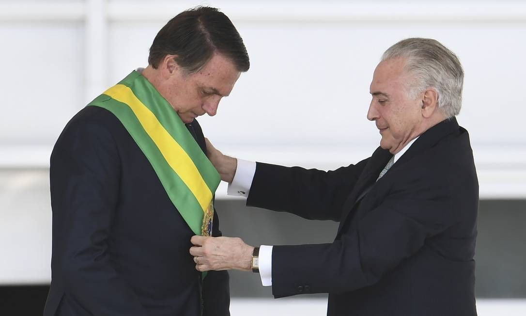 Jair Bolsonaro recebeu a faixa presidencial de Michel Temer em 1º de janeiro Foto: Foto: Evaristo Sá / AFP