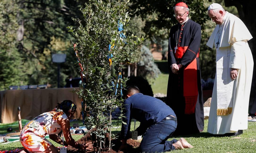 Papa Francisco e o cardeal brasileiro Dom Cláudio Hummes, observam dois índios brasileiros manejando o plantio de um carvalho nos jardins do Vaticano Foto: YARA NARDI / REUTERS